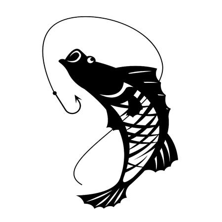 barramundi: The Barramundi fish and hook vector design Illustration