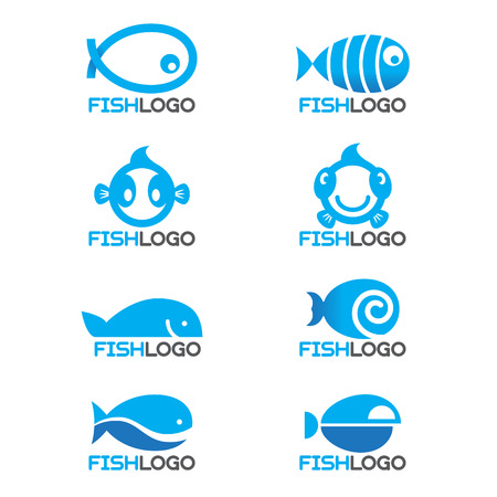 fish silhouette: 8 style Blue fish logo vector set design