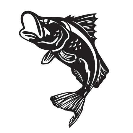 De barramundi vissen springen vectorkunstontwerp Stock Illustratie