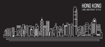 都市の景観建物ライン アート ベクトル イラスト デザイン Hong kong 市