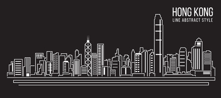 dibujos lineales: paisaje urbano de la ciudad de construcci�n de l�nea de dise�o vectorial Ilustraci�n de arte de Hong Kong