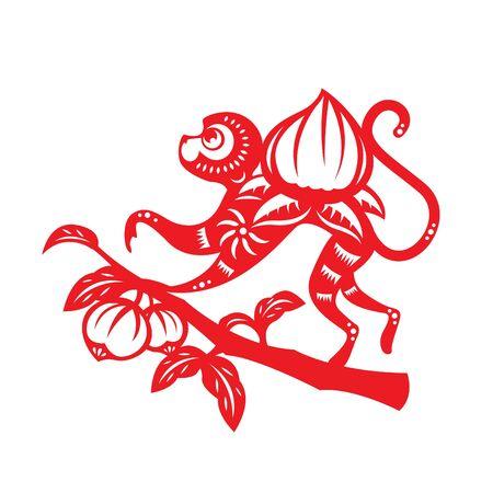 Red paper cut monkey zodiac symbol monkey and peach Illustration