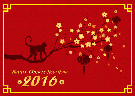chinese new year vector: Happy new year 2016 card is  lanterns , monkey and tree Illustration