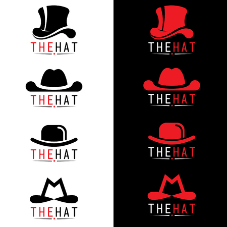 fashion design: Black and red hat logo vector set design