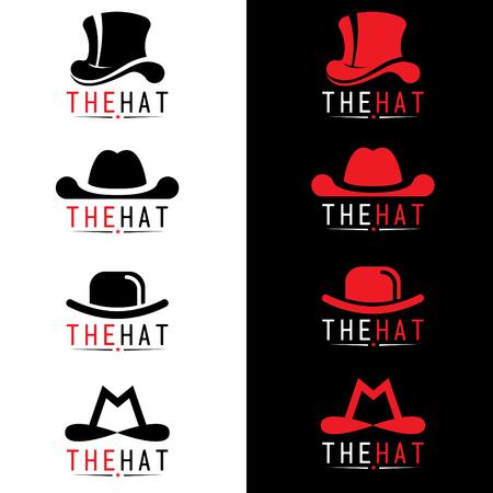 charlie: Black and red hat logo vector set design