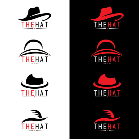 black hat: Black and red hat logo vector set design