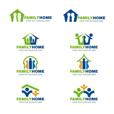 comunidad: diseño verde conjunto de vectores logo azul y anaranjada de la familia