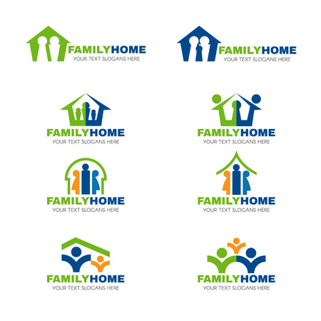 parent and child: Green blue and orange family home logo vector set design