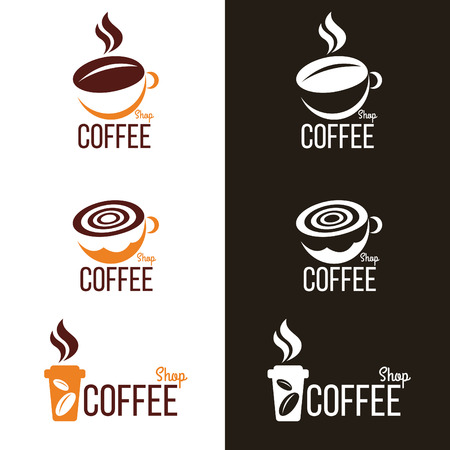 coffee beans white background: coffee cup and Coffee bean logo vector set design Illustration