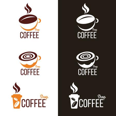 grano de cafe: Taza de café y frijol logotipo conjunto de vectores de diseño