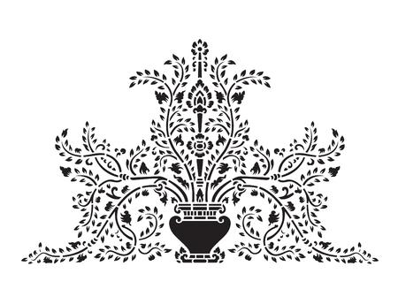 thai: Asian traditional art Design Vector, Thai traditional design  Lai Thai   - Vase and tree flower
