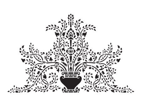 thai  art: Asian traditional art Design Vector, Thai traditional design  Lai Thai   - Vase and tree flower