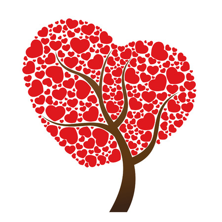 true love: Red heart leaf and tree vector design