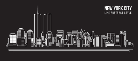 new york silhouette: Cityscape Building Line art Vector Illustration design - new york city