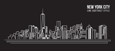 manhattan skyline: Cityscape Building Line art Vector Illustration design - new york city