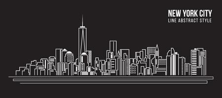 construccion: Paisaje urbano Edificio Línea diseño de ilustración, vector - nueva york