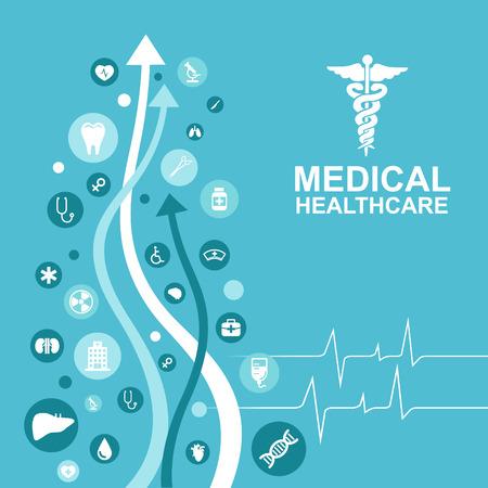 Medizinische Versorgung - Pfeil und Pulswelle und Symbol über Ärzte