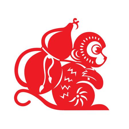 gourd: Red paper cut monkey zodiac symbol monkey holding calabash