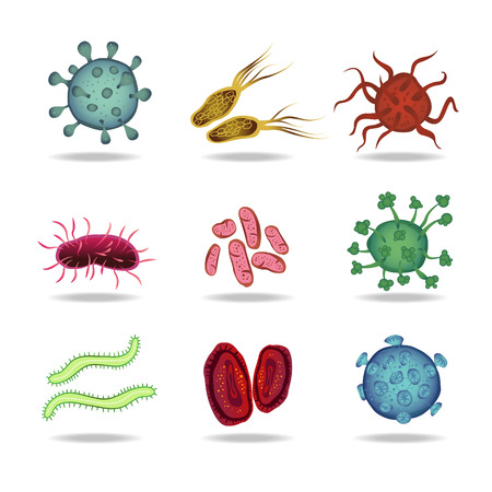 bacteria virus cells germs epidemic bacillus icons isolated illustration Illustration