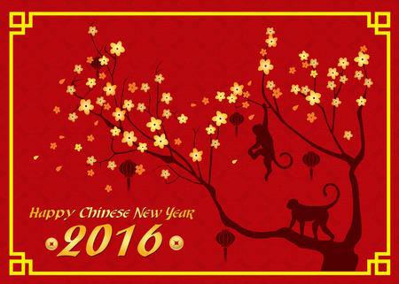 monkey in a tree: Happy new year 2016 card is  lanterns , monkey and tree Illustration