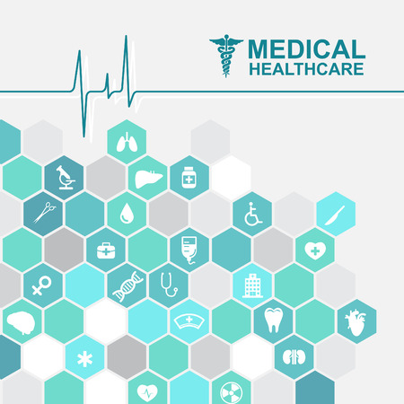 care about the health: Medical health care - pulse wave and Hexagon icon About Doctors Illustration