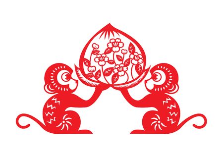 peach: Red paper cut monkey symbol 2 monkey holding peach Illustration