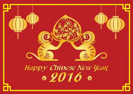 nouvel an: Chinoise heureuse nouvelle carte 2016 est lanternes, 2 Gold singe tenant pêche