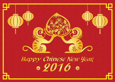 china art: Happy Chinese new year 2016 card is  lanterns , 2 Gold monkey holding peach
