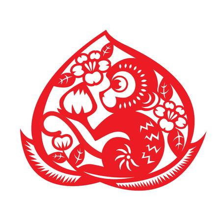 durazno: Rojo de papel cortado mono mono que sostiene el símbolo de melocotón en melocotón