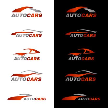 medios de transporte: naranja coche gris en el fondo blanco y negro