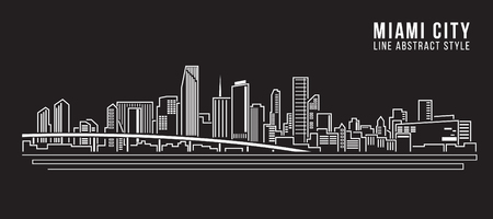 Cityscape Building Line art Illustration design - Miami city Vector Illustration