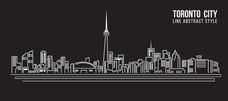 modern house: Cityscape Building Line art Vector Illustration design - Toronto city