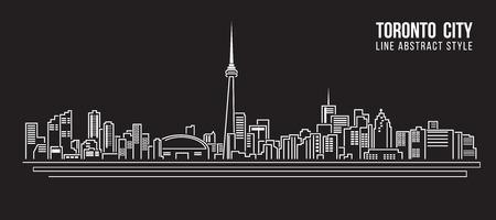 dessin au trait: Paysage urbain bâtiment Ligne art design Vector Illustration - ville de Toronto