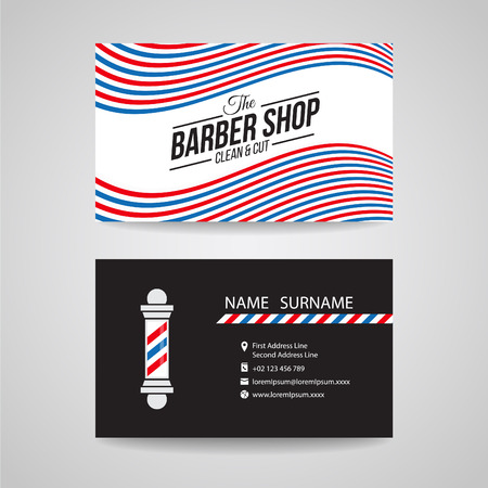 white pole: Business card - barber shop and barber pole design