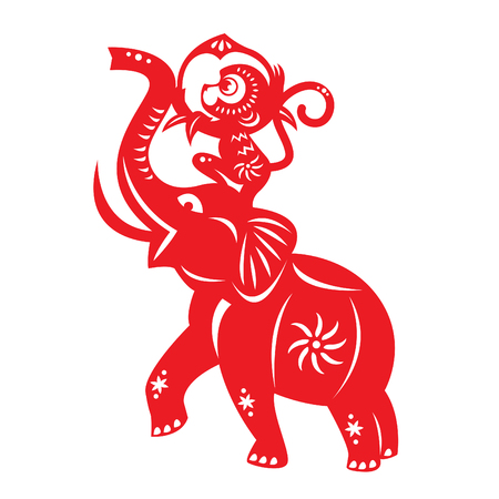 cut paper: Red paper cut monkey holding peach and elephant symbol
