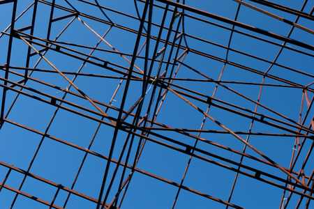 steelwork: The steel structure of the house on blue sky background Stock Photo