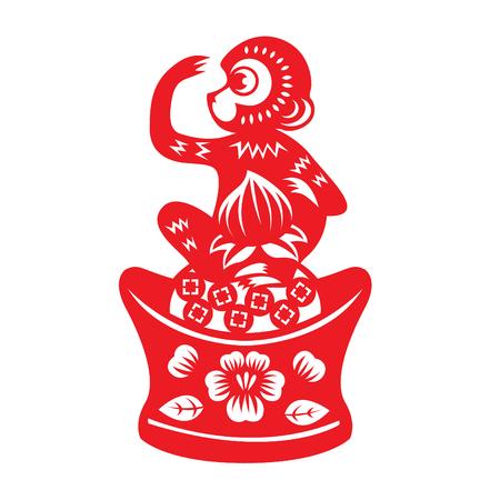 monkey: Red paper cut monkey symbol monkey holding peach on china money Illustration