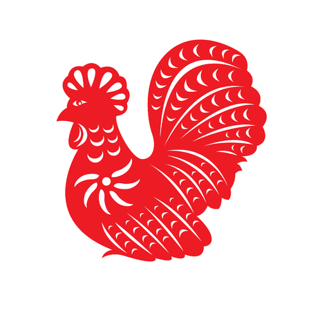 red paper: Red paper cut a chicken symbols Illustration