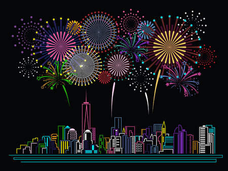 Cityscape Building Line Art And Firework Design Royalty Free ...