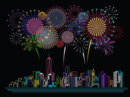 Stadtansicht von Gebäuden Linie Kunst und Feuerwerk-Design