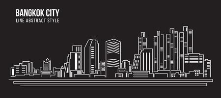 都市の景観建物ライン アート イラスト デザイン - バンコク市内