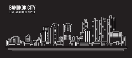 city buildings: Cityscape Building Line art Illustration design - Bangkok city