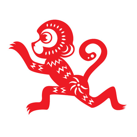 chinese astrology: Red paper cut a monkey zodiac symbols vector design