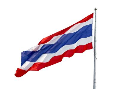 colour images: Flying the Thailand Flag and pole isolate on white background