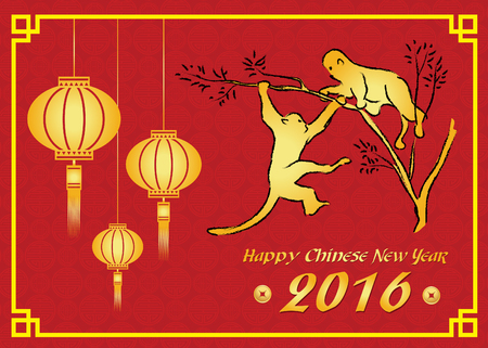 monkey in a tree: Happy Chinese new year 2016 card is  lanterns ,Gold monkey on tree