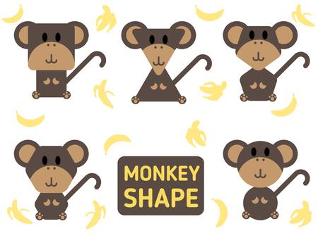 rounded: Monkey sharp vector set and banana design Illustration