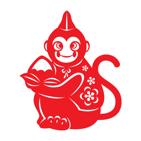 retro cartoon: Red paper cut monkey zodiac symbol japan monkey holding peach