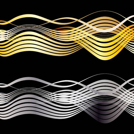 curve line: Gold and silver line wave abstract art vector design