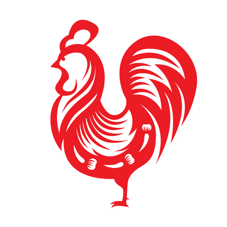 cuts: Red paper cut a chicken zodiac symbols