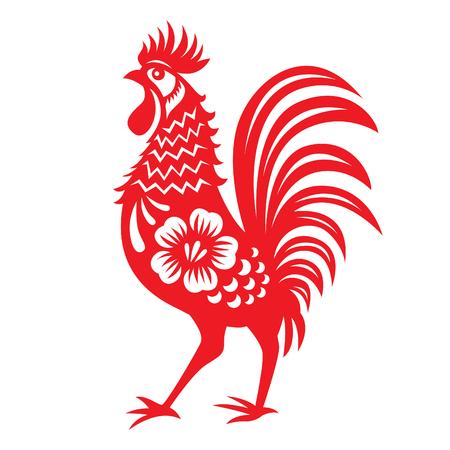 flores chinas: papel rojo cortar un pollo s�mbolos del zodiaco